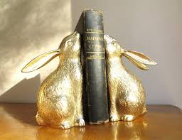 bunny bookends vintage brass rabbit bookends gold bunny book ends pair of