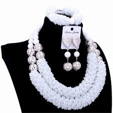 silver ball beads necklace images 4ujewelry jewelry african set white crystal silver balls handmade jpg