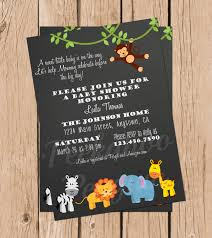 jungle baby shower invitations safari baby shower chalkboard