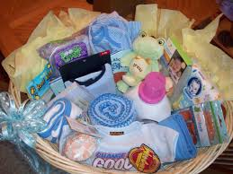baby shower gift wicker laundry basket filled with baby items a