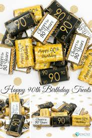 90th Birthday Centerpiece Ideas by Black And Gold 90th Birthday Party Mini Candy Bar Stickers Set