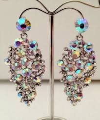 Costume Chandelier Earrings Ab Diamante Cluster Crystal Chandelier Earrings Bollywood Indian