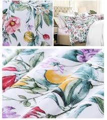 colorful blooming botanical garden cottage country style 3pc duvet