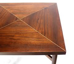 walnut top with brass inlay mid century modern expandable game