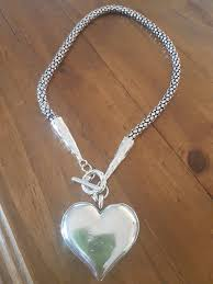 silver chunky fashion necklace images Chunky silver plated heart necklace country heartstrings JPG