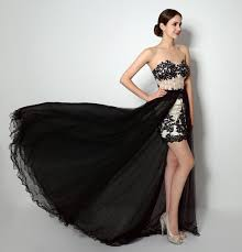 high low prom dresses evening wear with black lace appliques