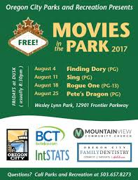 movies in the park 2017 city of oregon city