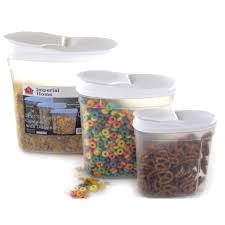 Dry Food Containers Storage Plastic Food Storage Container Cereal Dispenser Set 3 Piece Ebay
