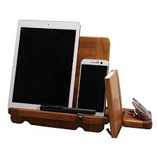 Electronic Charging Station Desk Organizer Oak Wood Phone Tablet Charger Station Desk Organizer