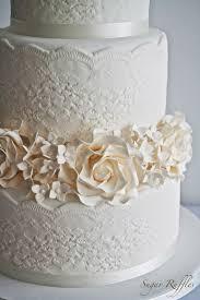 wedding cake lace lace wedding cake with roses hydrangea