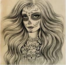 sugar skull skeleton pencil and in color sugar skull