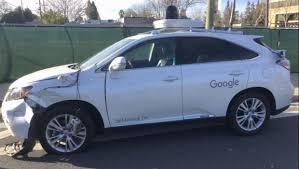 google images car video shows google self driving car hit a bus cbs news