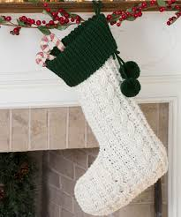 crocheted cable christmas stocking elegant aran stitches create