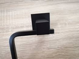 luxe square matte black l shaped toilet paper roll holder