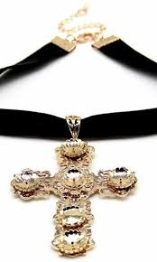 gold cross choker necklace images Keeping the faith black gold velvet choker cross pendant necklace jpg