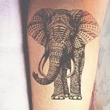black mandala elephant tattoo design for forearm