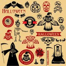 vintage halloween illustration vintage halloween icons u2014 stock vector firin 60601685