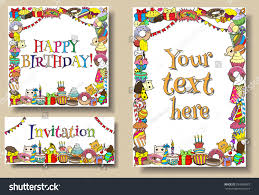 Invitation Cards For Birthday Party Template Set Greeting Cards Birthday Party Templates Stock Vector 297668987