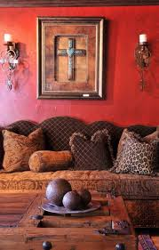 living room with western home decor ideas wall cross hanging art