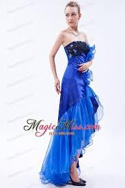 royal blue mermaid strapless high low prom dress organza appliques