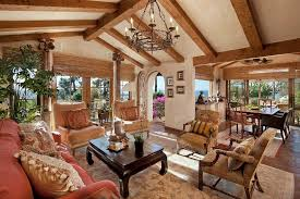 Spanish Revival Chandelier Wood Beam Chandelier Living Room Mediterranean With Tile Floor