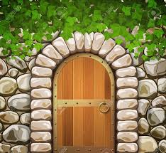 wooden leaves wall wall with arched wooden door and leaves royalty