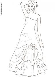 coloriage de la princesse avec une robe de bal dessin 40