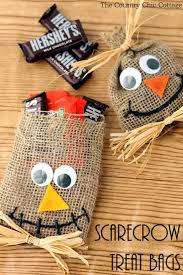 scarecrow halloween treat bags scarecrows burlap and bag