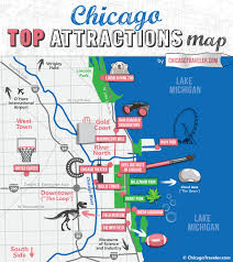 chicago map with attractions chicago attractions map