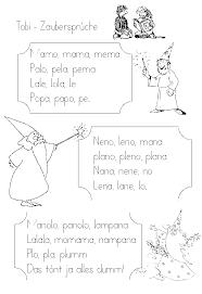 zaubersprüche schulmaterial arbeitsblätter für die unterstufe