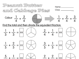 fraction pies a year 4 fractions worksheet