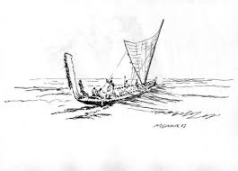 michael garr artwork small boat transfer original drawing pen