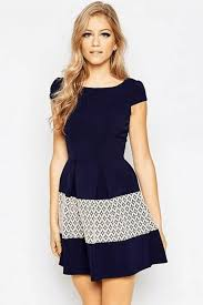 casual dress blue crochet lace accent casual dress casual dresses women