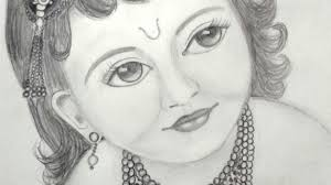 lord krishna pencil sketches drawing sketch picture