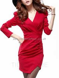 womens red green black dresses vogue solid color v neck bodycon