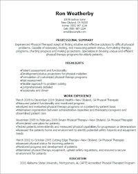 physical therapy career objective resume sample therapist cover