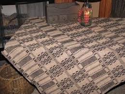 Primitive Coverlets Primitive Black And Tan Woven Coverlet Table Cloth 52x52