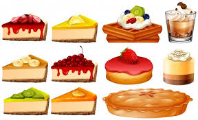 different types of cakes and pie illustration vector premium