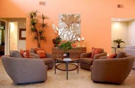orange feature wall living room home design