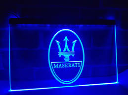 maserati blue logo lg139 maserati car repair services display light sign home decor