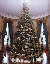 White Christmas Tree With Blue Decorations Decorating The White House For Christmas