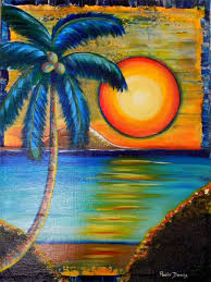 palm trees boats landscape art time simple pictures lighting beach