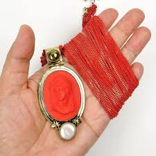 red chain necklace images Amy kahn russell red vintage glass cameo liquid chain necklace jpg
