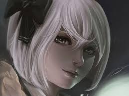 short white hair original short hair artwork white hair anime girls abstract art