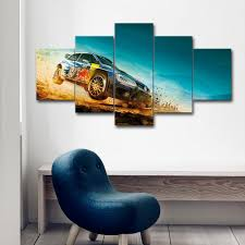 unframed 5 pieces canvas video game painting dirt 3 racing car