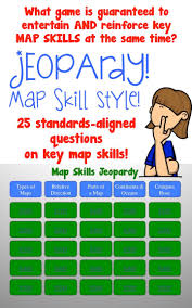Map Of Usa With Compass Map Skills Jeopardy Game Intermediate Grades Scale Map