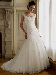 a line lace wedding dresses with cap sleeves naf dresses