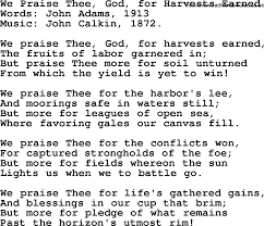 thanksgiving and harvest hymns songs we praise thee god for