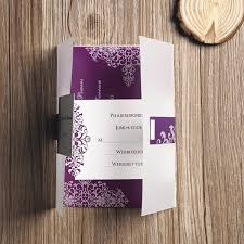 Affordable Pocket Wedding Invitations Purple Vintage Damask Printed Cheap Pocket Wedding Invitations