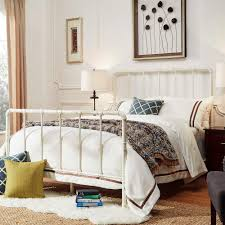 Antique White Metal Bed Frame Homesullivan Byer White King Bed Frame 40e422bk 1wbed The Home Depot